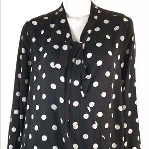 Ny Collection Women's Polka dot black blouse